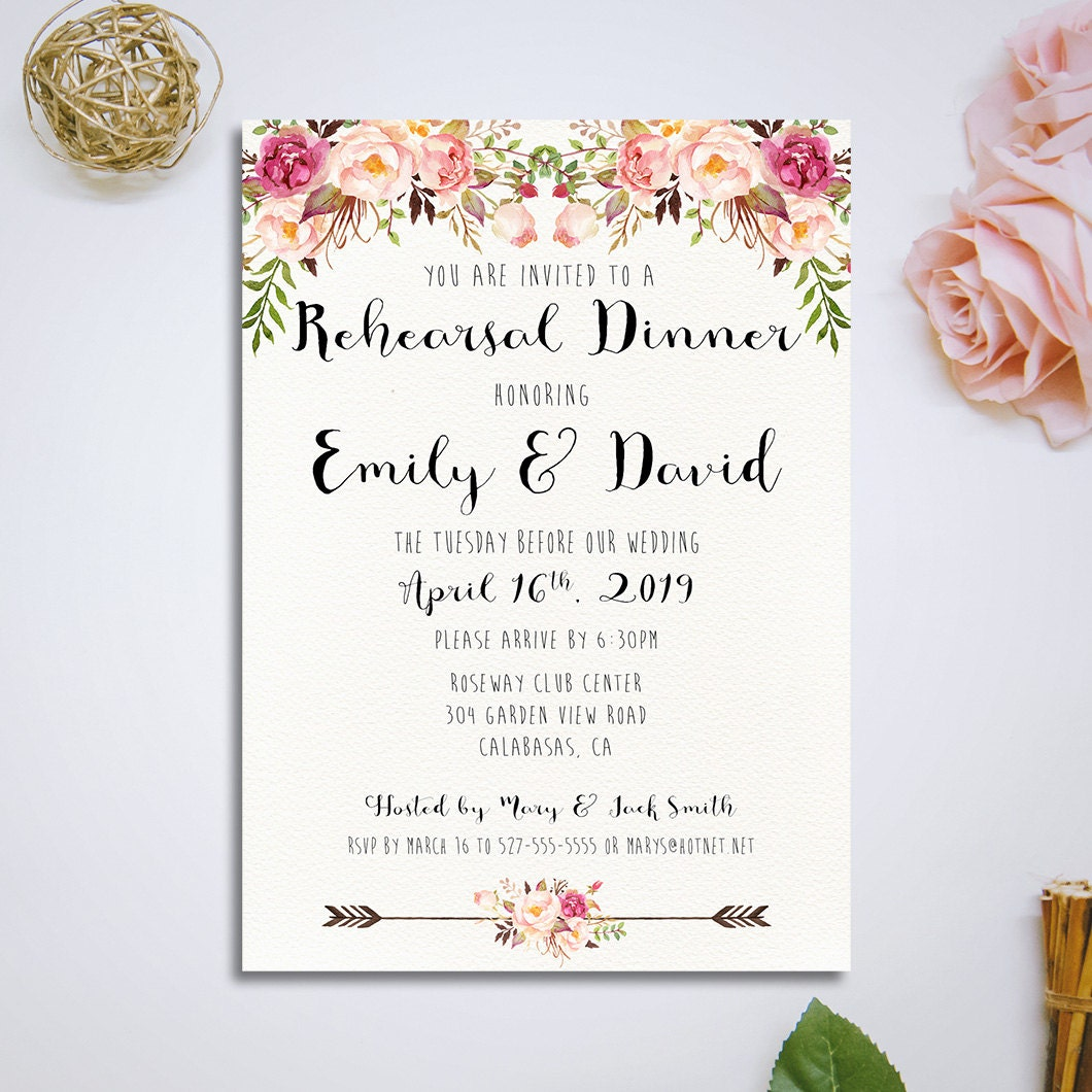 Wedding Rehearsal Invitations: Printable Rehearsal Dinner Invitation Wedding Rehearsal