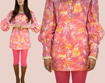 SALE~ Psychedelic 60s Renaissance Poet Sleeve Acid Pink Micro-Mini Dress