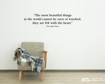 The Little Prince Wall Decal Quote / Heart Wall Sticker / Antoine de Saint-Exupéry