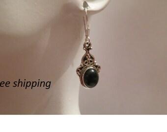 Silver black onyx earrings set in 92.5  sterling silver