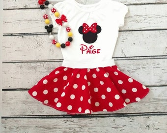 Minnie Mouse outfit - girls Minnie Mouse outfit - red Minnie Mouse - personalized Minnie Mouse outfit