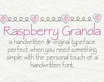 Digital Font Download- handwritten font- commercial use- MRF Raspberry Granola- True type font- open type font