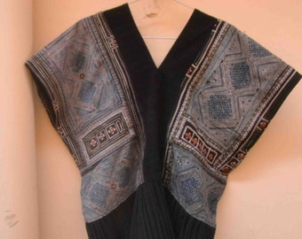 Hmong vintage tunic blouse ethnic top Hill tribe bohemian OOAK shirts neon colourful ponchos