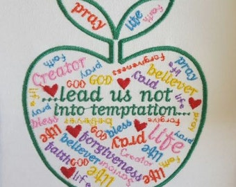 Apple Faith design / Prayer embroidery design / Machine embroidery / Religious / Christian