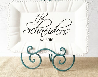 """Personalized Platter - Personalized Wedding Gift - Anniversary Gift - Bridal Shower Gift - Decorative Plate Tray Sign - 15"""" White Scalloped"""