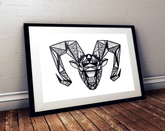 Ram print / poster hand drawn zen styled patterned animal print / poster