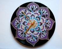 Mandala Clock Mandala Art Record Clock Hand Painted Clock Wall Clock Vinyl Clock Home Decor Unique Clock Recycled Vinyl Geometric Clock