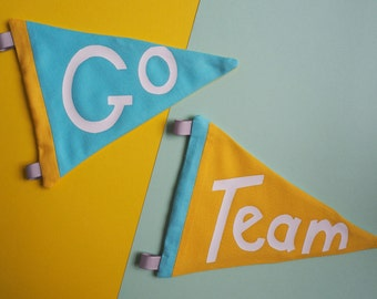 Go Team Pennants - Set of Two Retro Style Fabric Sports Pennants / Flags in Yellow & Turquoise Blue