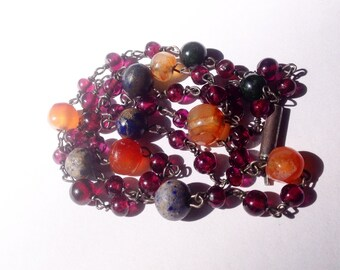 Vintage, mixed gemstone bead necklace, including, lapis, carnelian, amethyst beads.