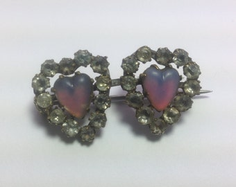 Rare, Antique, Victorian Saphiret glass double heart brooch. Romantic and sentimental pin.