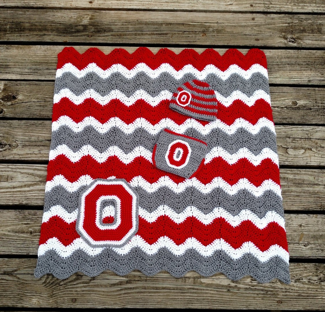 Ohio State Crochet Baby Gift Set With Striped Hat Diaper