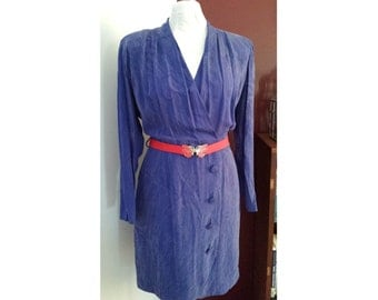 Vintage 1980s blue silk long sleeve dress with nipped waist, button front, puffy sleeves, structured shoulders, S, M, eighties, 80s
