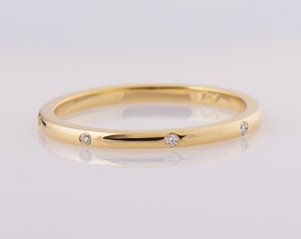 Diamonds Band - 14K Yellow Gold, Solid Gold Diamond Ring, Wedding Ring, Eternity Diamond Ring, Diamonds Evenly spaced, Delicate Ring