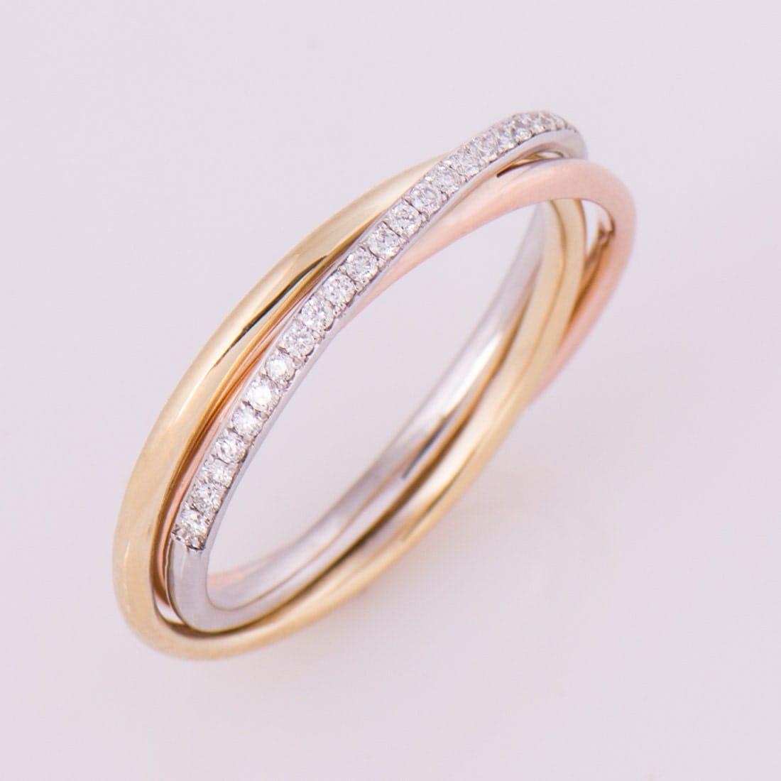 three tone ring 14k 18k gold diamonds band anniversary ring wedding ring - Three Band Wedding Ring
