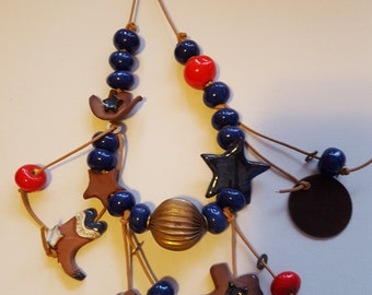 Ceramic Texas Necklace with Alamo-Chicken Ranch-Texas-Cowboy Boot Cowboy Hat Ceramic charms and Beads
