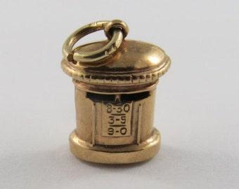 Pillar Box British Mailbox 9K Gold Vintage Charm For Bracelet