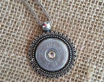 12 Gauge Shotgun Shell Top on an Antiqued Silver Pendant and Silver Toned Chain with a Clear Swarovski Crystal, Womens jewelry,