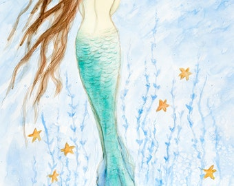 "Mermaid Print, 11"" x 14"" , by Tina Obrien, 'My Mermaid and Me we lived by the Sea',"