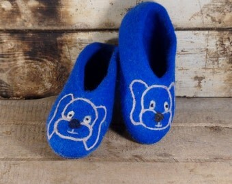 Handmade slippers Home shoes Hand felted wool slippers - shoes Slippers Wool felted children shoes Ready to ship  Christmas gift for boys
