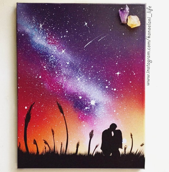 Anniversary Space Art Couple Painting Couple Love Wall