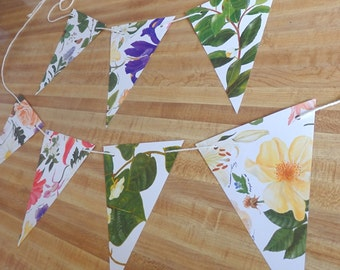 Wedding Banner, Floral bunting,  Paper Bunting, Flower Garland, Wedding Decor, Shower Banner, Recycled Banner, Eco Friendly Bunting