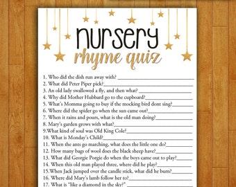 Baby Shower Game Nursery Rhyme Quiz - Printable Digital Instant Download - Gold Stars and Glitter Confetti Gender Neutral Boy Girl Shower