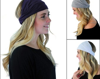 3 Count Boho Grey Purple White Multi Way Headwrap Stretchy Yoga Gym Headbands