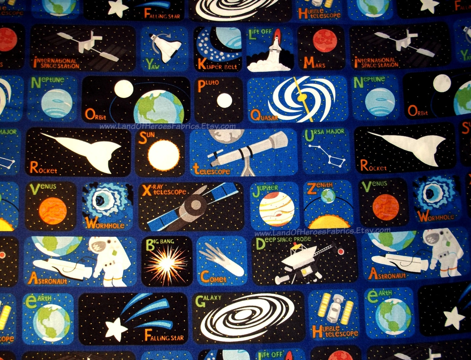 Now 00p almost gone outer space alphabet fabric from a for Space fabric by the yard
