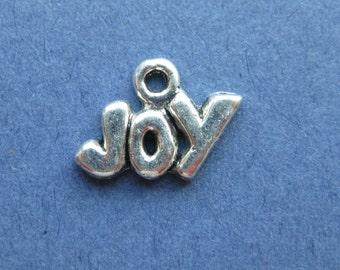 10 Joy Charms - Joy Pendants - Joy - Antique Silver - 12mm x 9mm  --(Y1-10516)
