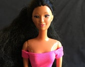 Rare Vintage Tropical Miko by Mattel, Barbie's Friend, Beautiful Pacific Asian Beauty, Green Eyes, Closed Mouth, 1980s Head