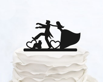 Wedding Cake Topper With Dog_Bride And Groom Couple Silhouette_Custom Cake Topper_heart Cake Topper_bride & groom cake topper
