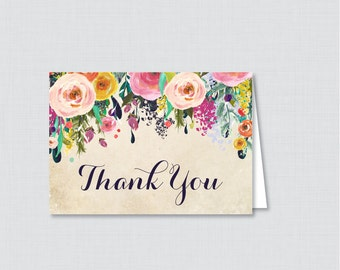 Printable Floral Bridal Shower Thank You Card - Color Flowers Garden Bridal Shower Thank You Card - Shabby Chic Bridal Shower Thank 0002-A