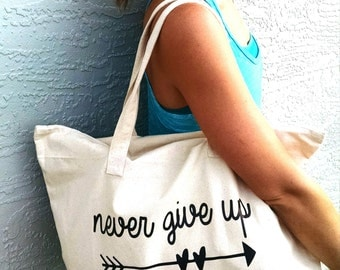 Never Give Up canvas tote bag