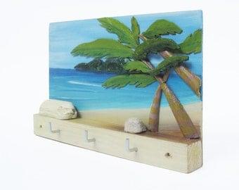 3D Wood Wall Art, Key Rack, Wall Key Hanger, Carribean Decor, Beach Art, Jewelry Holder, Wall Key Holder, Jewelry Display, Tropical Decor
