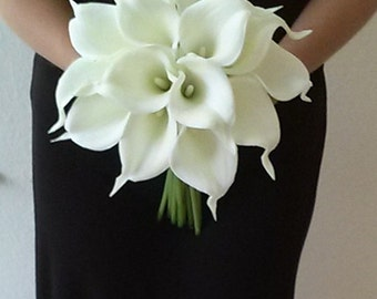 White Calla Lily Wedding Bouquet Bridesmaid Silk Flower Real
