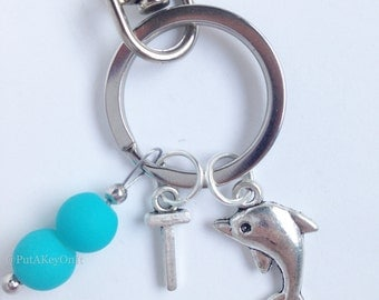 Personalized Dolphin Keychain with Initial - 78