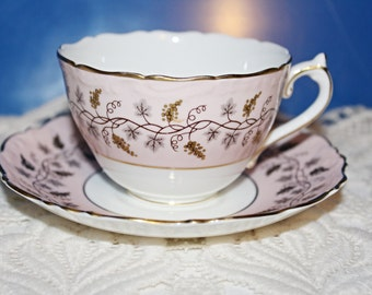 Real Pretty COALPORT Pastel PINK Teacup and Saucer Slightly Embossed Border Small Grapes & Vines Motif