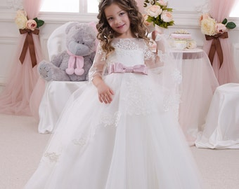 vory White Flower Girl Dress - Wedding Holiday Party Bridesmaid Birthday Flower Girl White Ivory Tulle Lace Dress
