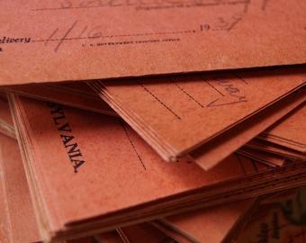 Vintage Art Paper Return Receipt Postcards / Art Junk Journal Collage Scrap Paper Craft Supply / Aged & Faded Graphic Postcards