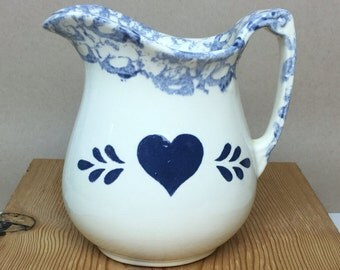 The-N-Now Blue Heart Stoneware White Water Pitcher Spongeware Rim Ceramic - Englewood, Ohio