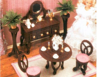 Victorian Fashion Doll Dining Room Set, Plastic canvas Barbie dollhouse furniture patterns by Annie's Attic 226K.