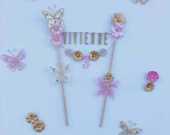 Butterfly cake topper / butterfly cake decorations / gold butterfly cake topper / birthday cake banner / personalized cake banner /