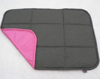 PINK + GRAY - Universal pad for dog, crate mat, traveling dog bed