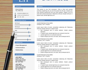 Professional One Page Resume Template For Microsoft Word + Cover Letter +  Writing Tips | Modern  One Page Resume
