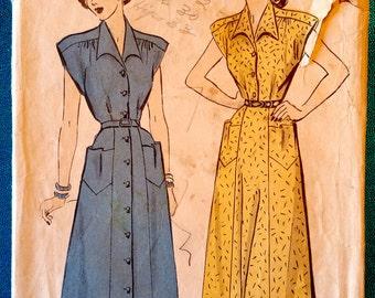 "Vintage 1940's 1950's shirt dress sewing pattern - Advance 5024 - size 12 (30"" bust, 25"" waist, 33"" hip) - around 1948"