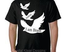 I am Brave - Divergent, Black, Short Sleeve T-shirt