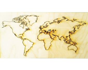 World Map wood Cutout Wood cutout world map  Laser cut World Map