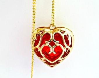 The Legend Of Zelda Necklace, Red Heart Necklace, Skyward Heart Necklace, Red & Gold Heart Necklace, Skyward Heart Container Necklace