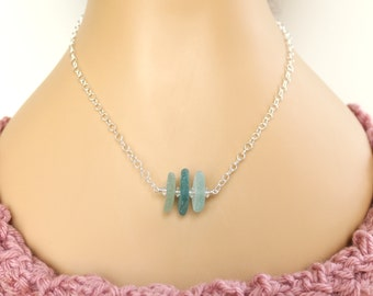 Natural Sea Glass Necklace, Sterling Silver Necklace, Sea Glass Jewelry, Natural Beach Glass Necklace, Swarovski Crystal Necklace