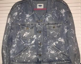 Paint Splattered Denim Jean Jacket - size M